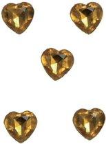 20x Gouden hartjes diamanten - Decoratie materiaal/versiering