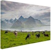 Koeien met bergen Canvas 30x20 cm - Foto print op Canvas schilderij (Wanddecoratie)