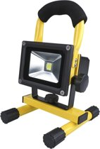 QY 10 W LED Mini Bouwlamp Floodlight Outdoor - 20 LED's - 900 Lumen Daglicht – oplaadbaar– inclusief adapter en autolader