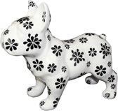 Franse Buldog Big Max XL decoratief object | Hond - Wit met zwarte bloemen | Pomme pidou