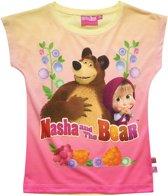 Masha-and-The-Bear-T-shirt-met-korte-mouw-geel-maat-116