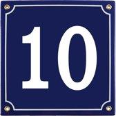 Emaille huisnummer blauw nr. 10