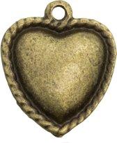 Bedel Hartje (18 x 20 mm) Brons (5 Stuks)