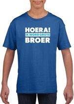 Blauw Hoera ik word grote broer t-shirt voor jongens S (122-128)