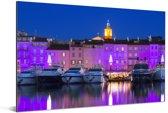 Paarse tinten in de Franse havenplaats Saint-Tropez Aluminium 180x120 cm - Foto print op Aluminium (metaal wanddecoratie) XXL / Groot formaat!