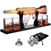 Luxe Whiskey Karaf Set - AK-47 Decanteerkaraf - 8 Whisky Stones - 4 Glazen