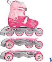 Inline Skates Rolschaatsen Quads - 3 in 1 - Meisjes Verstelbaar - Roze - maat 27-30