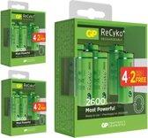 18 Stuks (3 Blisters a 6st) - 12+6 GRATIS GP Recyko+ AA/HR06 2600mah 1.2V NiMH Oplaadbare Batterijen