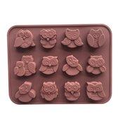Chocoladevorm mal Uil siliconen vorm voor chocolade ijsblokjes ijsklontjes of fondant - LeuksteWinkeltje