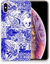 Apple iPhone Xs Max Uniek TPU Hoesje Angel Skull Blue