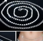 Ketting- Buikketting- Strass- 90 cm
