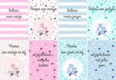 Geboortekaartjes - Set van 8 x Geboortekaart - Jongen en Meisje / Zoon en Dochter