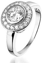Montebello Ring Jupiter - Dames - Zilver Gerhodineerd - Zirkonia - 13 mm - Maat 50 - 16