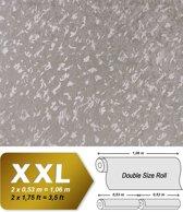 Uni kleuren behang EDEM 9011-34 vliesbehang gestempeld in spachtelputz look glimmend zilver grijs 10,65 m2