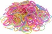 600 Loom elastiekjes, loombandjes in multi kleur met weefhaken en S-clips