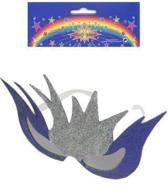 Fantasie bril glitterzilver/paars