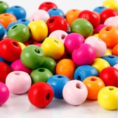 Houten kralen mix, d: 8 mm, gatgrootte 1,5-2 mm, 500gr, circa 3100 stuk