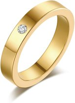 Montebello Ring Tabea Gold - Unisex - 316L Staal - Zirkonia - Trouw - 5 mm  - Maat 51 - 16.25