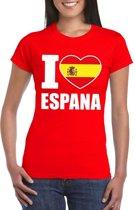 Rood I love Spanje fan shirt dames XL