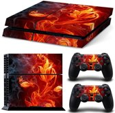 PS4 Console Skin | Fire Flower | Vuur Sticker | +2 Controller Stickers voor Playstation 4