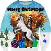 Kersttrui met eenhoorn en kat Maat XL