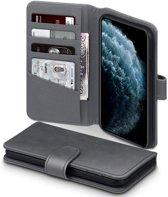 Hoesje voor Apple iPhone 11 Pro, luxe echt leren 3-in-1 bookcase, grijs