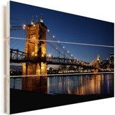 Hangbrug over de rivier van Ohio in de Verenigde Staten Vurenhout met planken 120x80 cm - Foto print op Hout (Wanddecoratie)