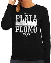 Narcos plata o plomo tekst sweater zwart voor dames - Gangster zilver of lood tekst trui 2XL