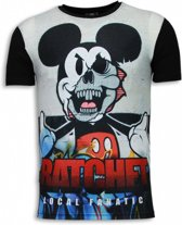 Local Fanatic Ratchet Mickey - Digital Rhinestone T-shirt - Zwart - Maten: L