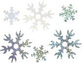 Pailletten, d: 25+45 mm, lichtblauw, wit, zilver, sneeuwvlok, 30gr