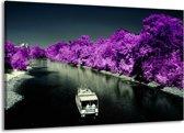 Canvas schilderij Boot   Paars, Zwart, Grijs   140x90cm 1Luik