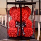 Love teddy beer van rode kunst rozen met cadeau doos | Moederdag | Verkering | Beertje | Rood | 25CM | Valentijnsdag | Valentijnscadeau | Inclusief Giftbox