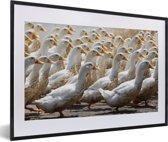 Foto in lijst - Troep van eenden in het platteland van Vietnam fotolijst zwart met witte passe-partout 60x40 cm - Poster in lijst (Wanddecoratie woonkamer / slaapkamer)