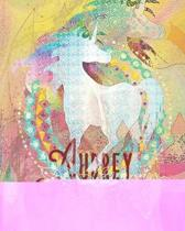 Audrey: Colorful Rainbow Unicorn - 100 Pages 8''X10'' Girl's Composition Wide Ruled Notebook