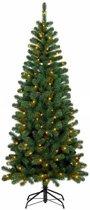 Smalle Kunstkerstboom Brisbane Deluxe - met warme LED verlichting- snel op te bouwen- hoogte 150cm