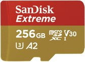 SanDisk Extreme MicroSDXC 256GB - U3 V30 A2 - 160MB/s  - met adapter
