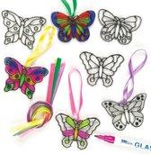 Kleine zonlicht vangende decoraties vlinder  (12 stuks per verpakking)