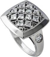 Diamonfire - Zilveren ring met steen Maat 16.0 - Vierkant - Gevuld met kleine zirkonia