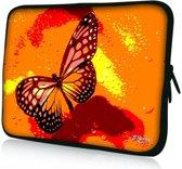 Sleevy 15,6 laptophoes oranje/roze vlinder - Laptop sleeve - Macbook hoes - beschermhoes