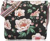 Amelie Vintage Rozen Omhang Schoudertas Canvas Retro Bloemen Zwart