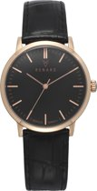 Renard Elite Black Rose Gold Black Croco RA361RG31CBK - Horloge - Leer - Zwart - 35.5 mm