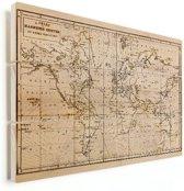 Historische wereldkaart op vurenhout - Vintage - wand decoratie klein 40x30 cm | Wereldkaart Hout