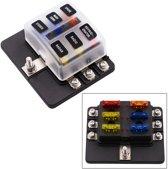 1 in 6 Out 6 Way Circuit Zekeringkast Schroefklem Sectie Zekeringshouder Kits met LED Waarschuwingsindicator voor Auto Vrachtwagen Boot
