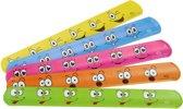 Klaparmband Lachgezicht set van 6 stuks - 6 verschillende kleuren