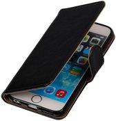 Zwart vintage lederlook bookcase voor de iPhone 6 Plus / 6s Plus wallet Telefoonhoesje