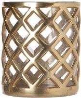 Aluminium-Glas Windlicht 16*14 cm Goud