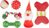 Kerst hondenspeelgoed kerstsok gevuld met speeltjes