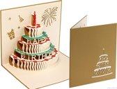 Popcards popupkaarten – Vrolijke taart met kaars verjaardagskaart Happy Birthday pop-up kaart
