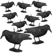 relaxdays 9 x duivenverschrikker kraai staand - 38 cm vogelverschrikker zwart - tuinfiguur