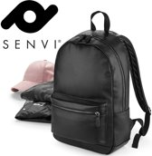Senvi Rugzak - Fashion Backpack Leder look Zwart